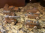 Antique Barclay Manoil Army Tank Army Truck Cannon Gunner Field Kitchen Lot Of 6