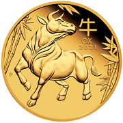 2021 Australian Lunar Year Of The Ox 1/10 Oz Gold Proof 15 Coin New Series-3