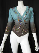 Anthropologie A Common Thread Beaded Wrap Top P Nwt Blue Grey Brown