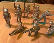 Barclay Manoil Lead Metal Army Soldier Holding Rifle Gunner Lot