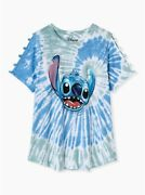 Torrid Disney Lilo And Stitch Blue And Green Tie-dye Cutout Crew Top Nwt New 4x