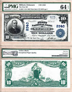 1902 10 The First National Bank Milford Delaware Fr.632 Ch2340. Pmg Unc64 Epq
