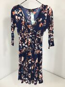 Renee C Womenand039s Lior Maternity Cross Front Aline Dress Navy/multi Small Nwt 58