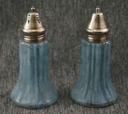 Eapg Blue Spatter Glass Ribbed Fluted Salt And Pepper Shakers - Large 6