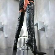 Women Stiletto Pointy Toe Thigh High Boots Sexy Night Club Bar Plus Size Leather