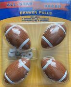 All-star Decor 1s102 4 Football Ball Drawer Pulls With Hardware New