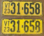 Vermont 1923 License Plate Pair - Nice Quality 31-658