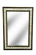Wooden Mother Of Pearl Mirror Frame Brass Butterfly Clip Design