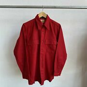 Vintage 60and039s Buck Skein Joe Wool Red Flannel Shirt Size Large