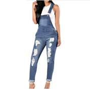 Jumpsuit Jeans For Ladies Straps Buttons Pocket Long Sleeveless Overall Outwear
