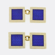 Cropp And Farr Square Shape Enamel Cufflinks 18ct Yellow Gold