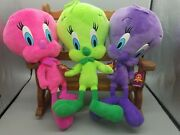 Three 3 Looney Tunes 15 Plush Tweety Birds Hot Pink, Purple And Lime Green New