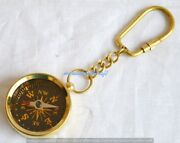 Set Of 100-shiny Brass Collectable Nautical Hiking Marine Compass Keychain