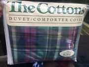 The Cotton King Sz Duvet Comforter Cover Only Plaid 100 Cotton New In Package