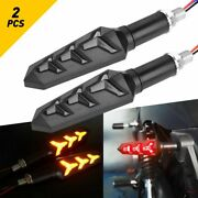 2x Motorcycle Amber/red Led Turn Signals Flowing Water Blinker Lights Iidicator