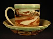 Very Rare 1790 Cup And Saucer Slip Marbled Mocha Ware Mochaware Staffordshire Mint