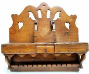 Unique 23 Wooden Carved Kitchen Spoon Rack W/ 30 Spoon Slots