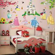 Seven Princess And Dwarf Beautiful Castle Fairy Tale Kids Girl Room Wall Stickers