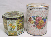 Vtg Lot Two Decorative Tins Octagonal Round Floral England 1960s-70s
