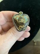 Echo Of The Dreamer Large Boulder Opal And Peridot Ring Sterling Silver Size 7