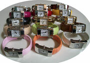 Womenand039s Geneva Small Assorted Colors Metal And Leather Band Fashion Bangle Watches