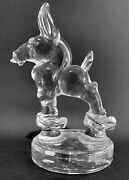 Heisey Glass Animal Crystal Clear Democratic Donkey Mule On Bust Off, Rare / Htf