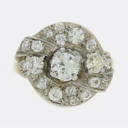 2.15 Carat Old Cut Diamond Cluster Ring 18ct Yellow Gold And Platinum