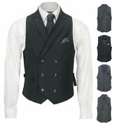 Mens Smart Casual Grey Black Double Breasted Collar Waistcoat Formal Fitted Vest
