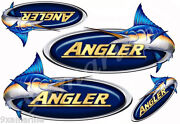 4 Angler Designer Stickers. Remastered Stickers For Boat Restoration Project