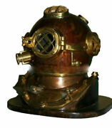 Antique Old Style Diving Divers Helmet Us Navy Mark V Boston Gift With Base
