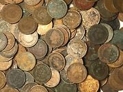 Roll Of 50 Coins Mixed Indian Head Cent Pennies In Cull / Junk / Worn Condition