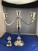 Poole Sterling Silver 3-candle 4 Pc Convertible Candleabra 752 Weighted