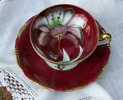 Antique Royal Sealy Footed Cup And Saucer - Hand Painted Set