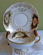 Antique Royal Sealy Footed Cup And Saucer, Luster Background
