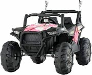 12v Electric Ride On Cars Kids Off-road Utv Rc 2 Seats 3 Speeds Led Camo Pink