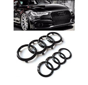 Audi Rings Hood Grille Trunk Boot + Rear A5 Emblem + Quattro Badge Glossy Black