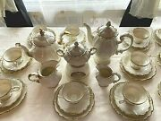 Rosenthal Pompadour Lunch Set For 12 1947-1948 Gold On Cream