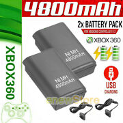 2x For Xbox 360 Wireless Controller Rechargeable Battery Packs + Charger Cable