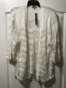 New Joseph A Womans Plus Size 1x Ivory Lacy Lightweight Open Cardigan, Retail78