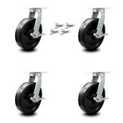 Scc 10andrdquo Extra Heavy Duty Phenolic Caster Set-swivel Casters W/brakes And Bsl-set 4