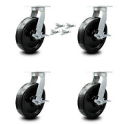 Scc 12andrdquo Extra Heavy Duty Phenolic Caster Set-swivel Casters W/brakes And Bsl-set 4
