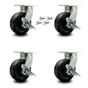 Scc 8andrdquo Extra Heavy Duty Phenolic Caster Set-swivel Casters W/brakes And Bsl-set 4