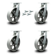 """12"""" Extra Heavy Duty Semi Steel Cast Iron Caster Set-swvl Casters With Bsl-set 4"""