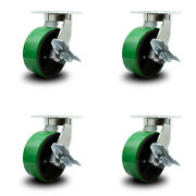 """8"""" Extra Heavy Duty Green Poly On Cast Iron Caster Set-swvl Casters W/brk-set 4"""