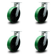 10andrdquo Extra Heavy Duty Green Poly On Cast Iron Caster Set - Swivel Casters - Set 4