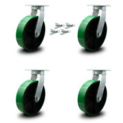"""10"""" Extra Heavy Duty Green Poly On Cast Iron Caster Set-swvl Casters W/bsl-set 4"""