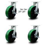 """10"""" Extra Heavy Duty Green Poly On Cast Iron Caster-swvl Casters W/brkandbsl-set 4"""