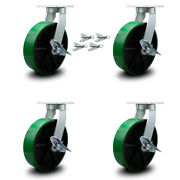 12 Inch Heavy Duty Green Poly On Cast Iron Caster Set With Brake And Swivel Lock
