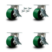 """6"""" Extra Heavy Duty Green Poly On Cast Iron Caster-swvl Casters W/brkandbsl-set 4"""