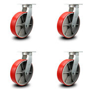 Scc 12andrdquo Extra Heavy Duty Red Poly On Cast Iron Caster Set - Swivel Casters-set 4